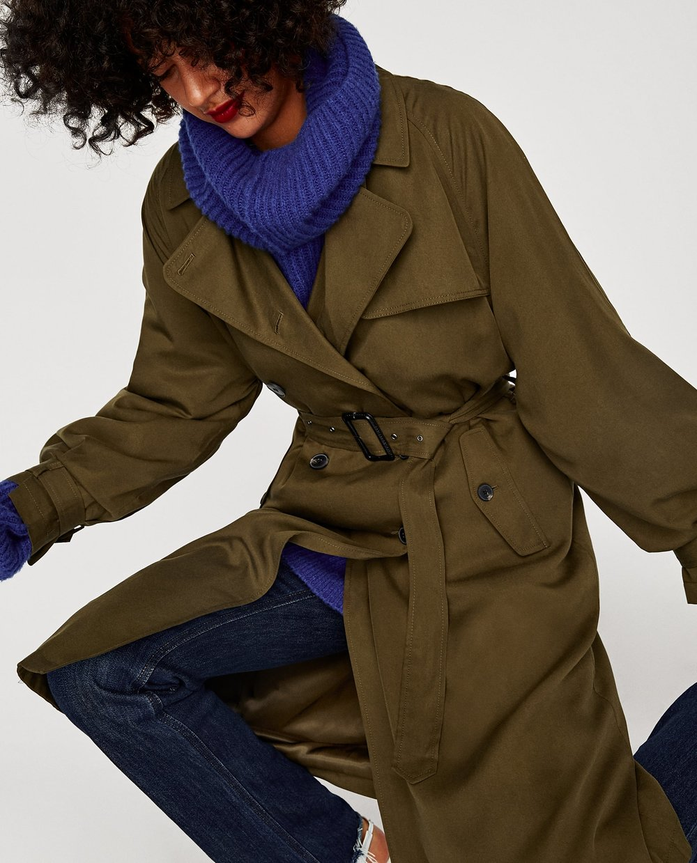 - LOOSE FIT TRENCH COAT IN DARK KHAKI / SALE PRICE $80