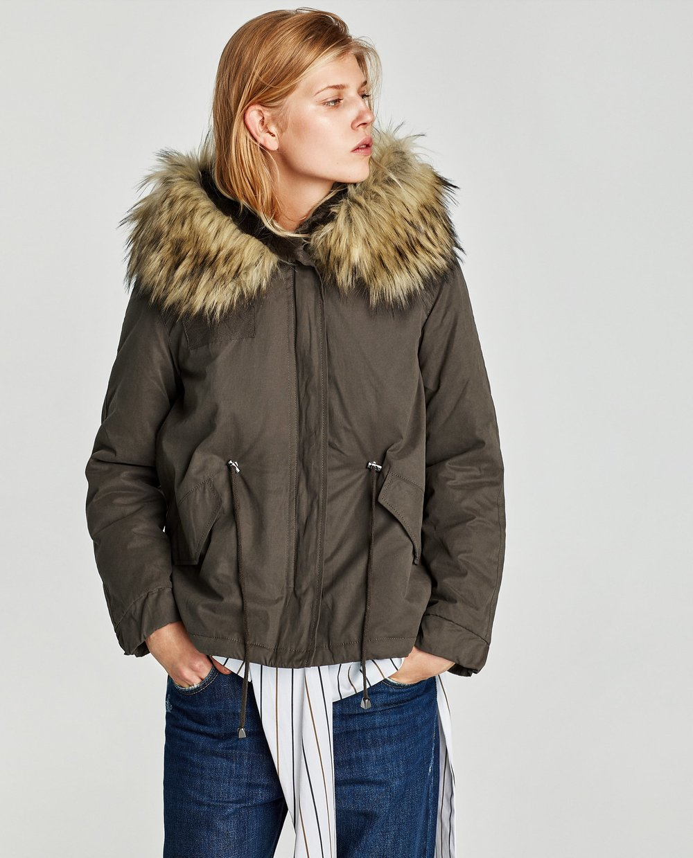 - PARKA WITH FAUX FUR HOOD / SALE PRICE $80