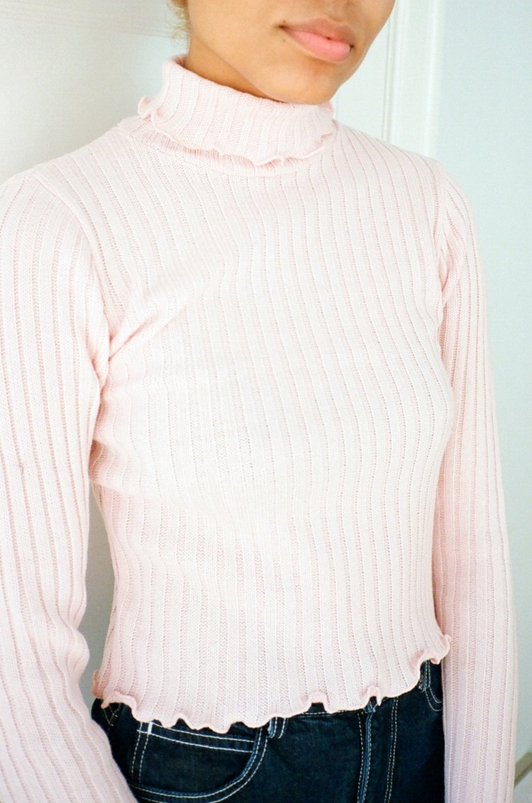 - CALM KNIT TURTLENECK in PINK / Side Party $58available at Lisa Says Gah