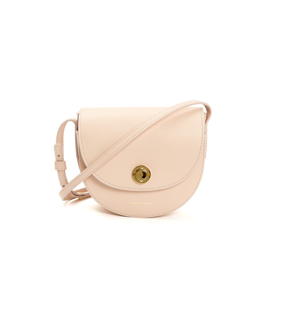 - MINI SADDLE BAG IN PINK / Mansur Gavrielavailable at Shop BAZAAR
