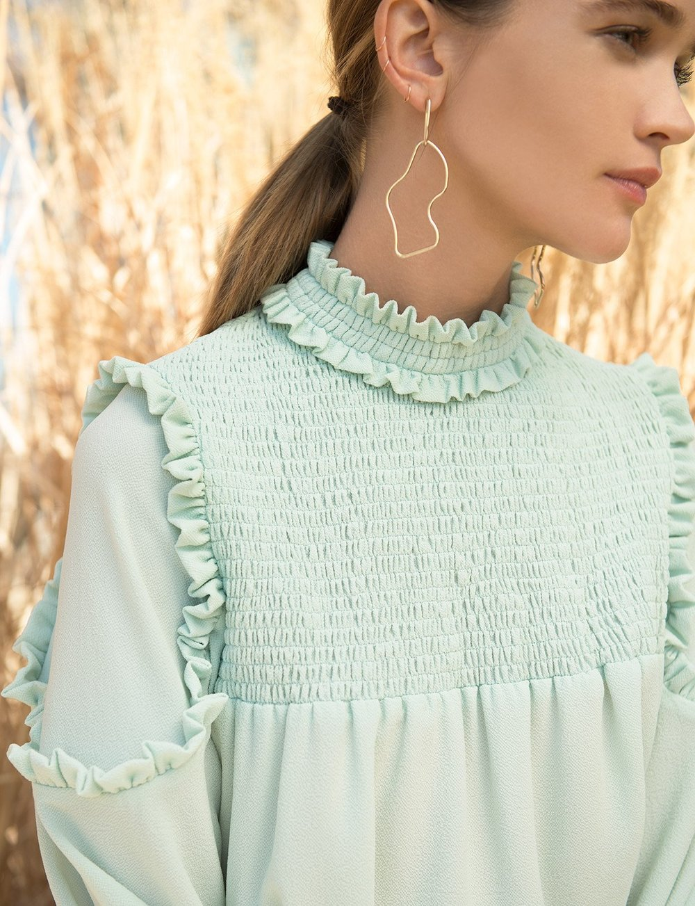 - MINT RUFFLED MOCK NECK BLOUSE / Pixie Market sale price $49 (*take extra 40% off w/code