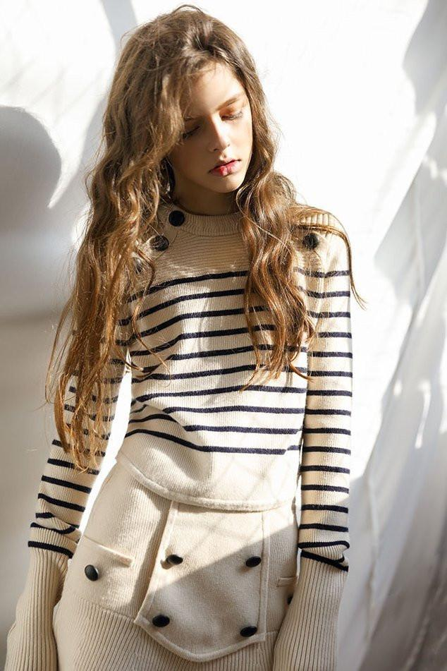 - CLASSIC STRIPE WOOL BLEND SWEATER / Genuine People sale price $119