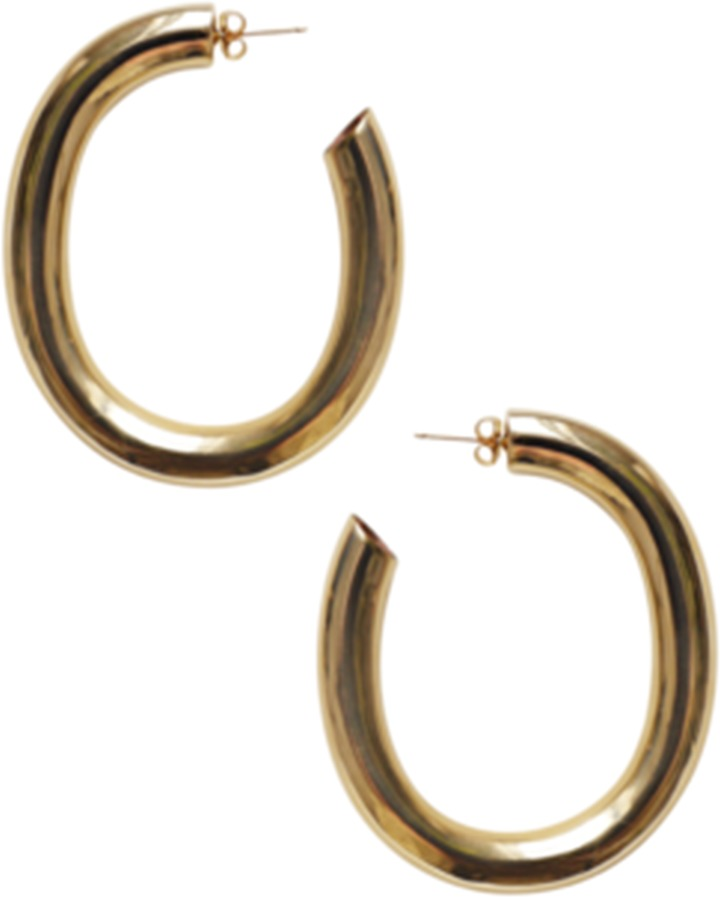 - GOLD CURVE EARRINGS / Laura Lombardi available at Hampden Clothing