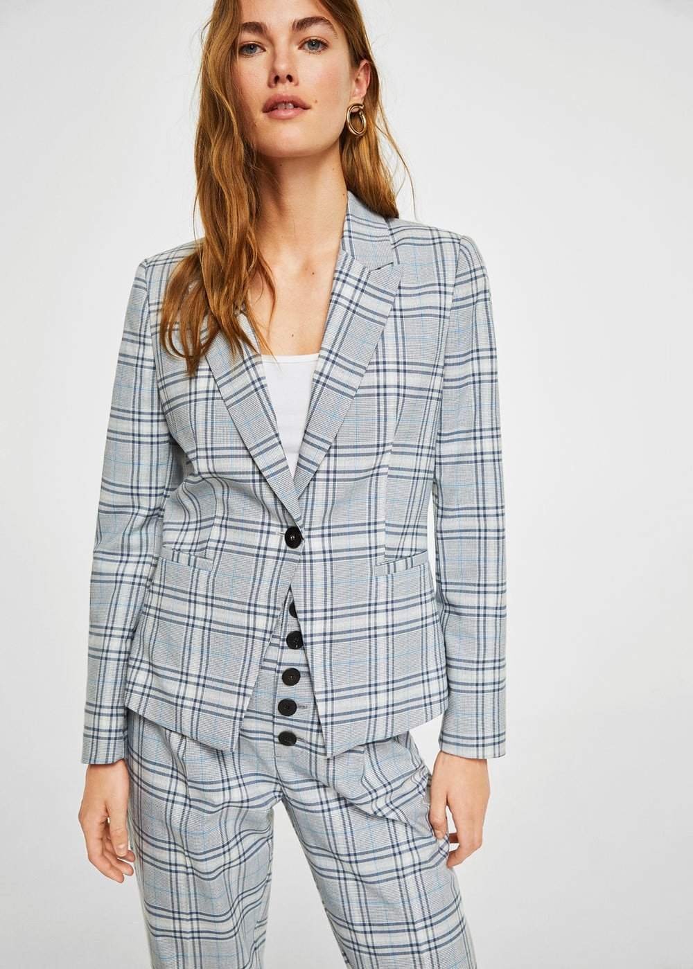 Mango's check structured blazer