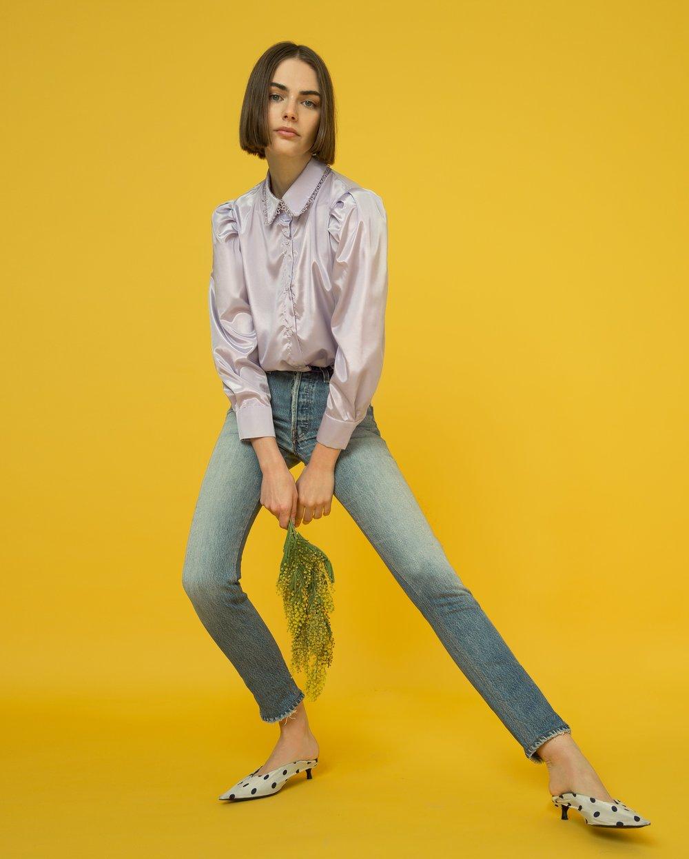 Vivian lavendar satin blouse by Pixie Market