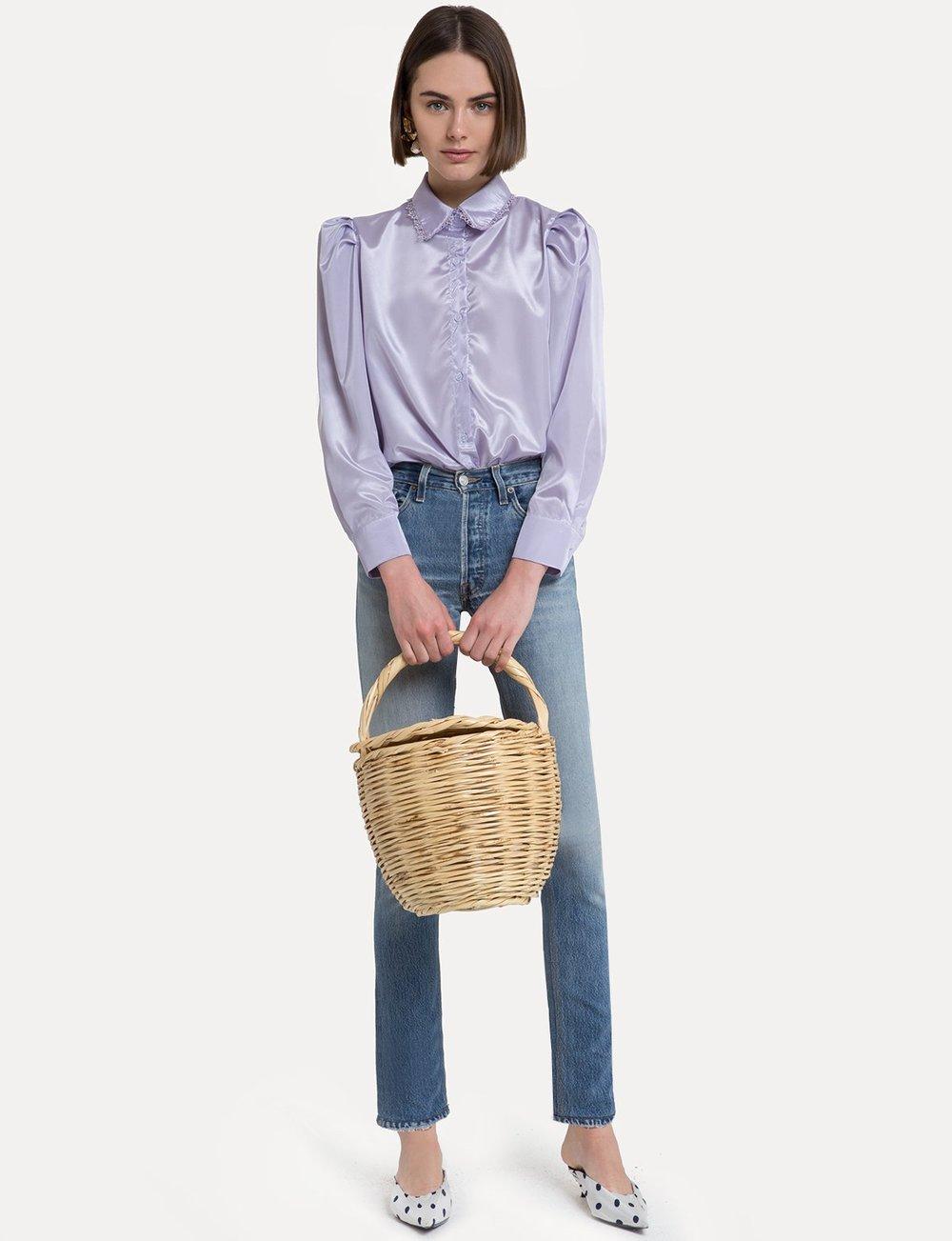 Vivian lavender satin blouse by Pixie Market