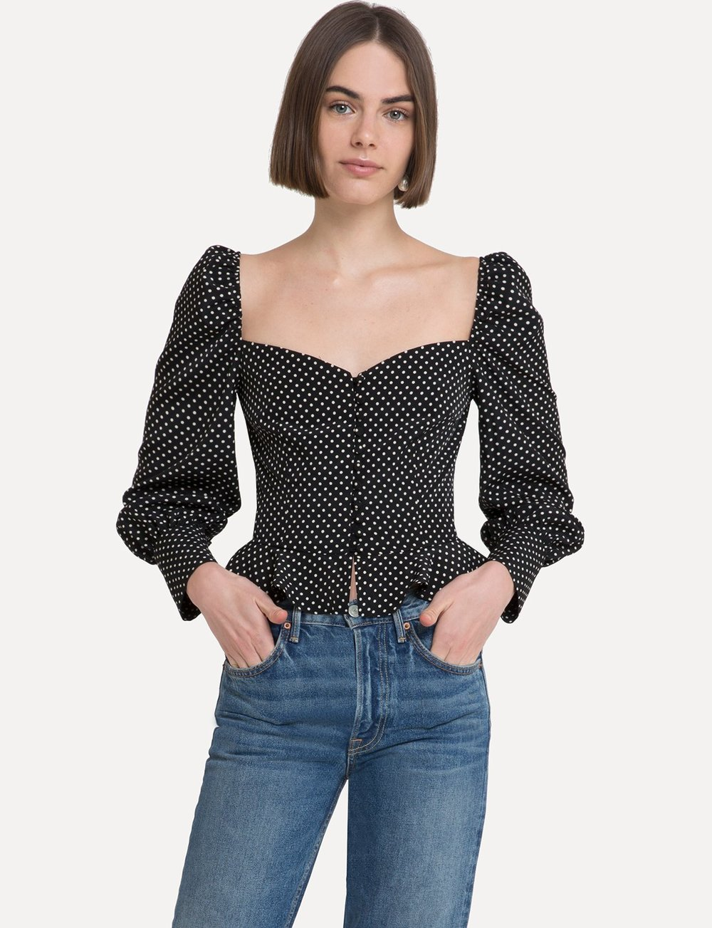 - VALENTINA BLACK POLKA DOT TOP / Pixie Market $125