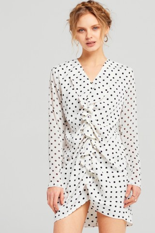 - LOUISE POLKA DOT MINI RUFFLE DRESS / Storets $84