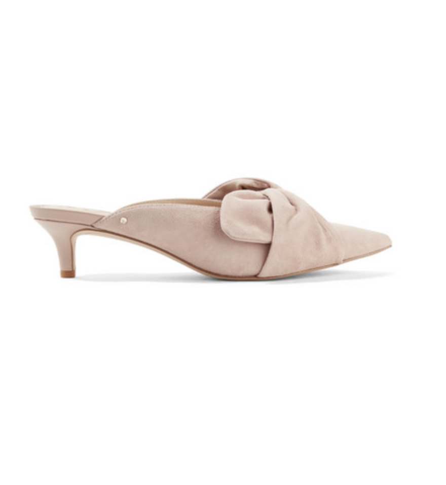 - LANEY BOW-EMBELLISHED SUEDE MULES / Sam Edelman available at Net-a-Porter $110