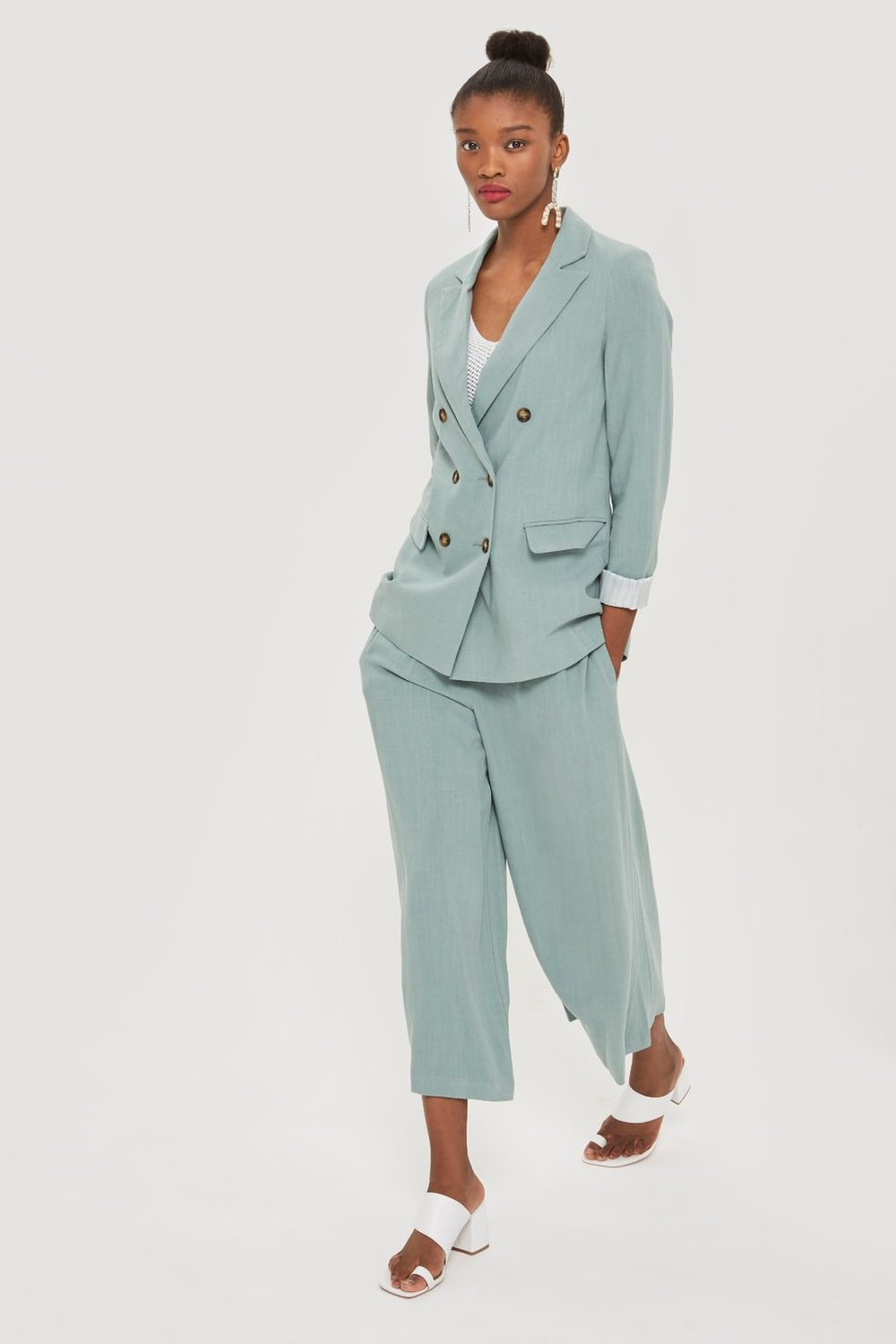 - Topshop / Double Breasted Linen Suit and Horn Button Cropped Leg Trousers