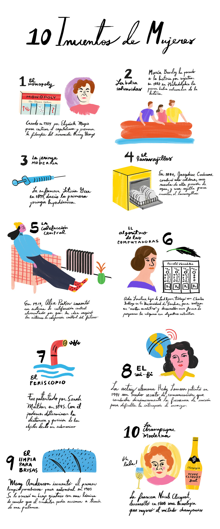 10 Modern Things Invented by Women illustrated by Monica Andino // DNAMAG