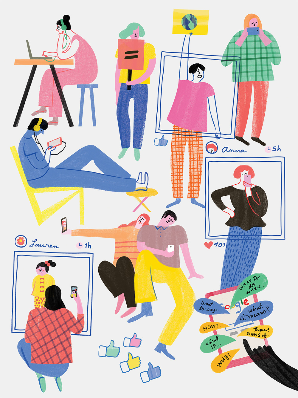 Millennials illustrated by Monica Andino // DNAMAG