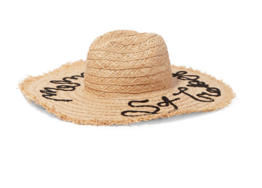 - FRAYED EMBROIDERED STRAW SUNHAT / Miu Miu $360