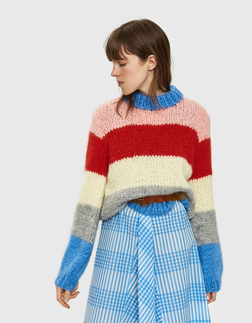 JULLIARD STRIPED MOHAIR PULLOVER / GANNI $440
