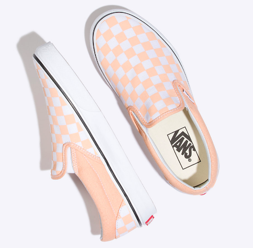 - CHECKERBOARD SLIP-ON IN APRICOT / Vans $50