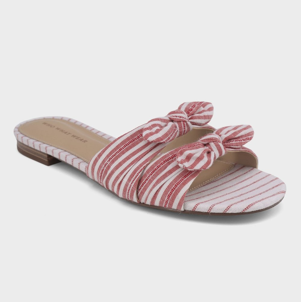 - FLORENCE STRIPED BOW SLIDE SANDAL / Who What Wear $34.99 available at Target