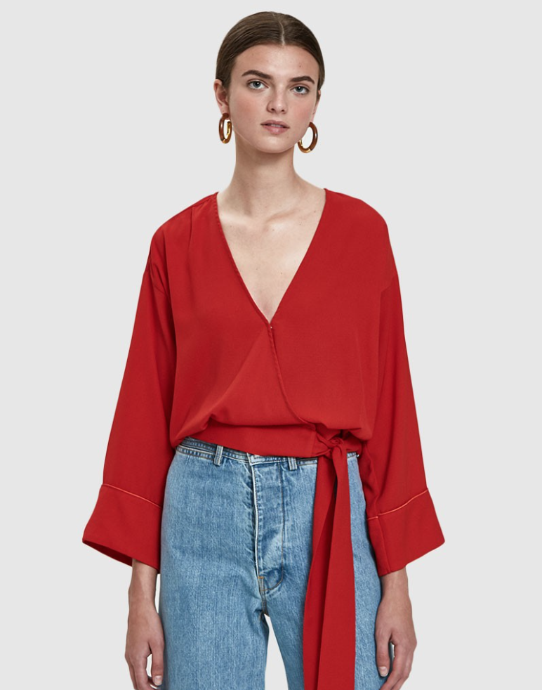 - TIE TOP IN RED / NEED $135