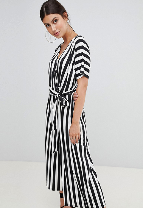 - STRIPED CULOTTE JUMPSUIT / Boohoo available at Asos $35