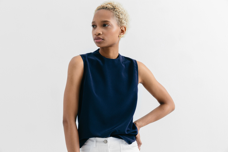Navy high neck tank by Of a Kind