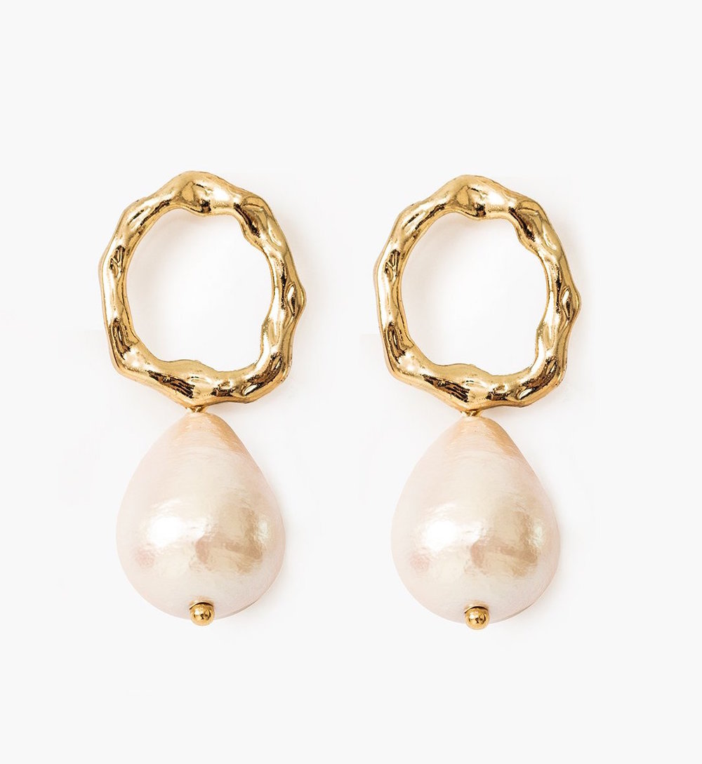 Ring Pearl Drop Earrings by Pixie Market