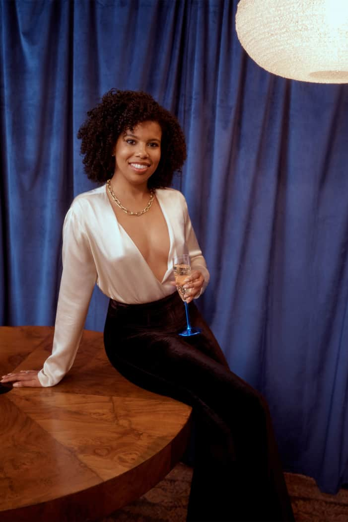 ANNDREA - Founder/CEO of Black Tech Women, a growing community of 2,100 members across the tech ecosystem with partnerships with Google and eBay.Anndrea wears the Aerin Bodysuit $168
