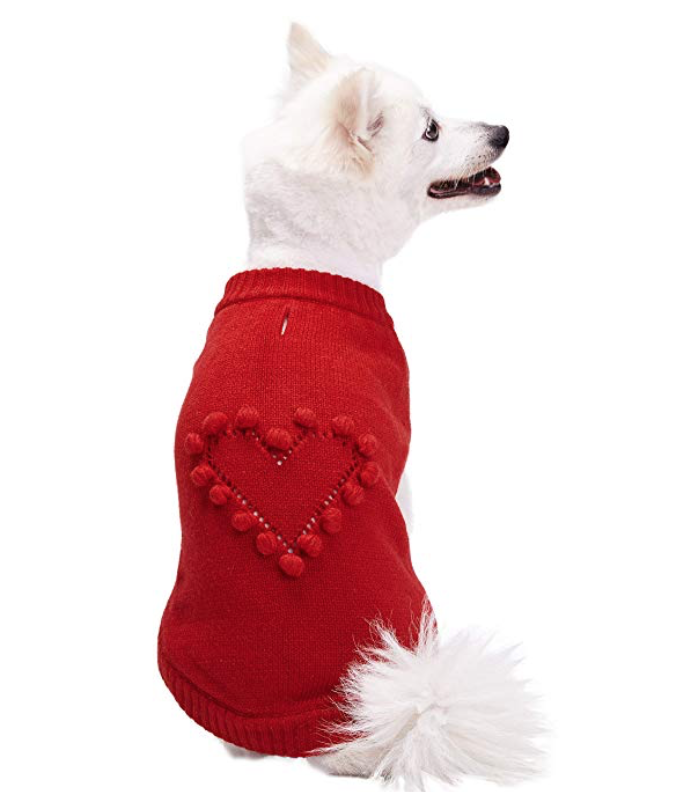 BLUEBERRY PET / VALENTINE HEART PULLOVER SWEATER $13.99 - available at Amazon