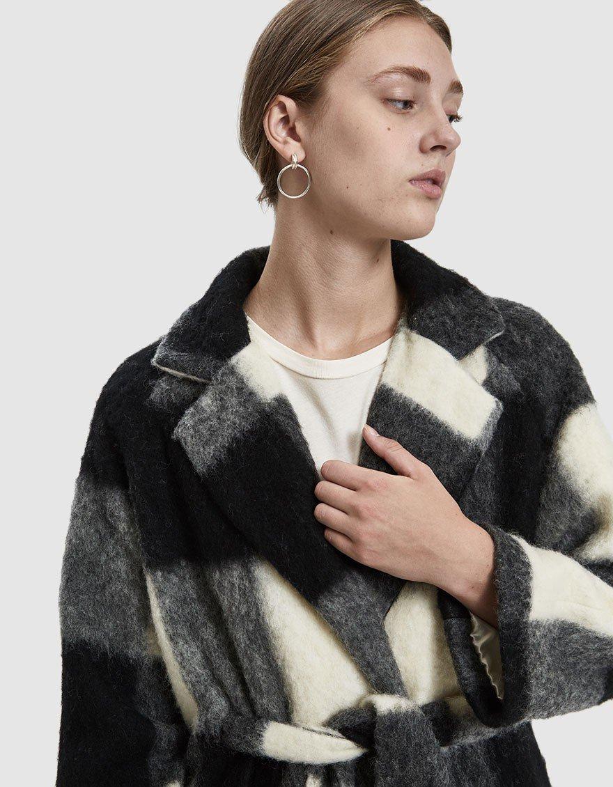 Ganni 'mckinney wool tie coat'