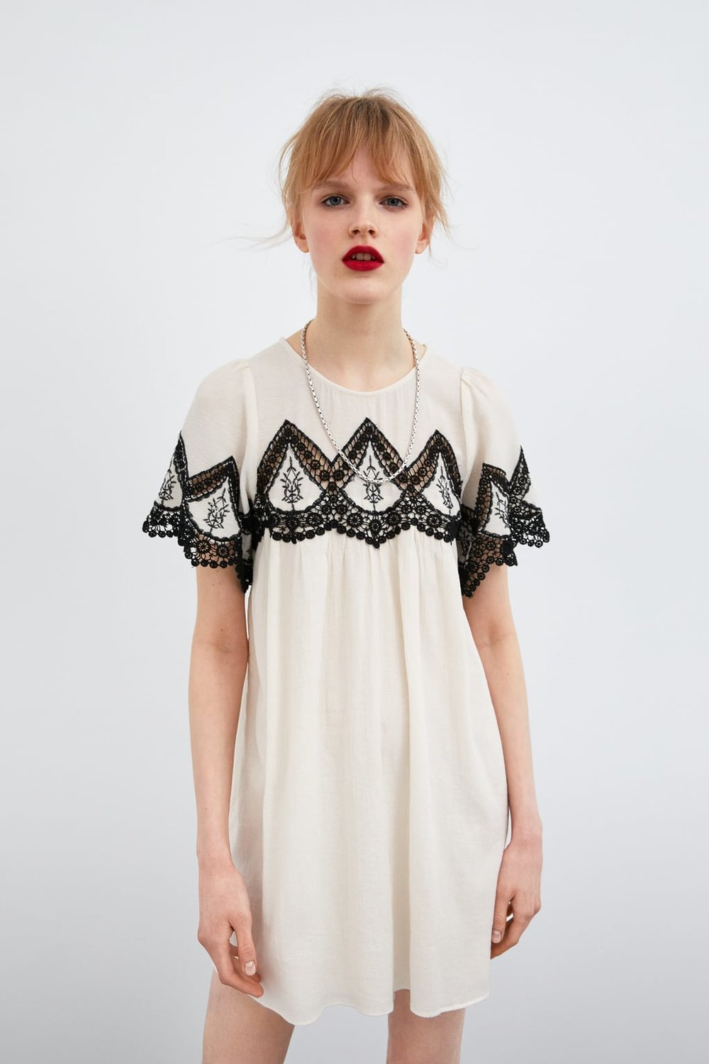 ZARA / DRESS WITH EMBROIDERY DETAIL $49.90 -