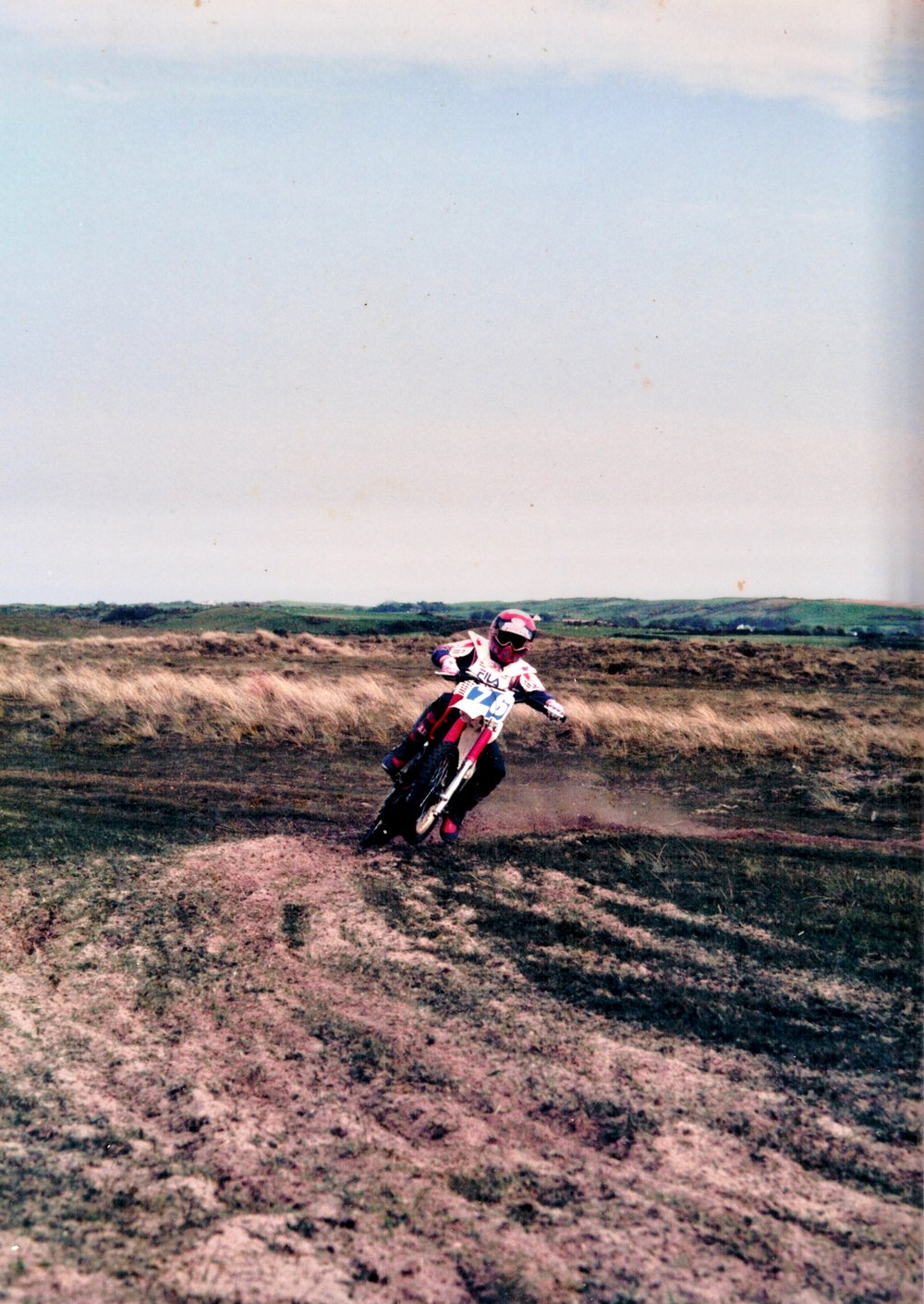 Dirt bikes were a huge part of his childhood, 1986 Isle of man TT week motocross.