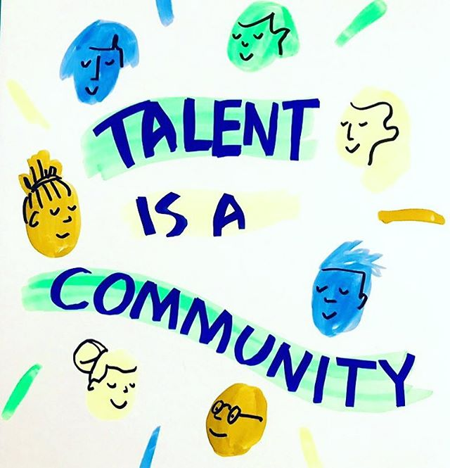 Talent is a community. Talking about talent within the #NHS today in lovely sunny Leeds with YHLeadership @ukcoachleader 💚💛🧡💙 #talent #OD #LD #graphicrecording #illustration #graphicchange #Community