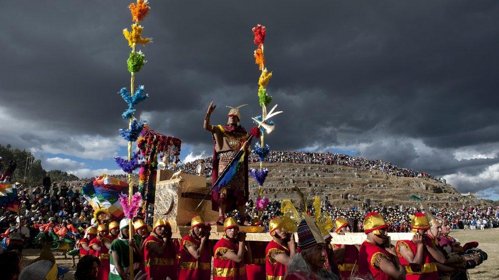 Inti Raymi ritual at the Incan Ruins in Sacsayhuaman
