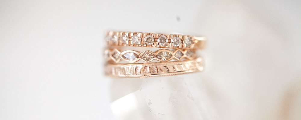Gold and diamond engagement rings