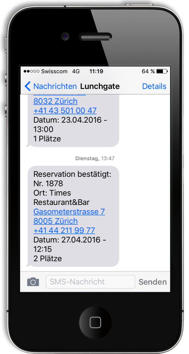 Reservationssystem Foratable SMS