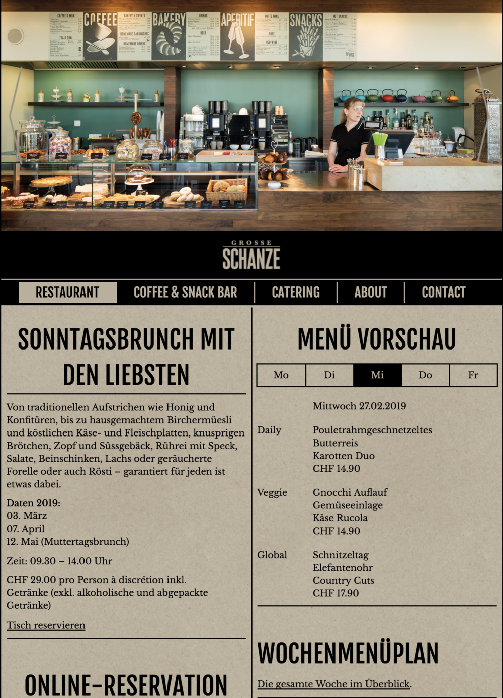 Mittagsmenü der Grossen Schanze in Bern