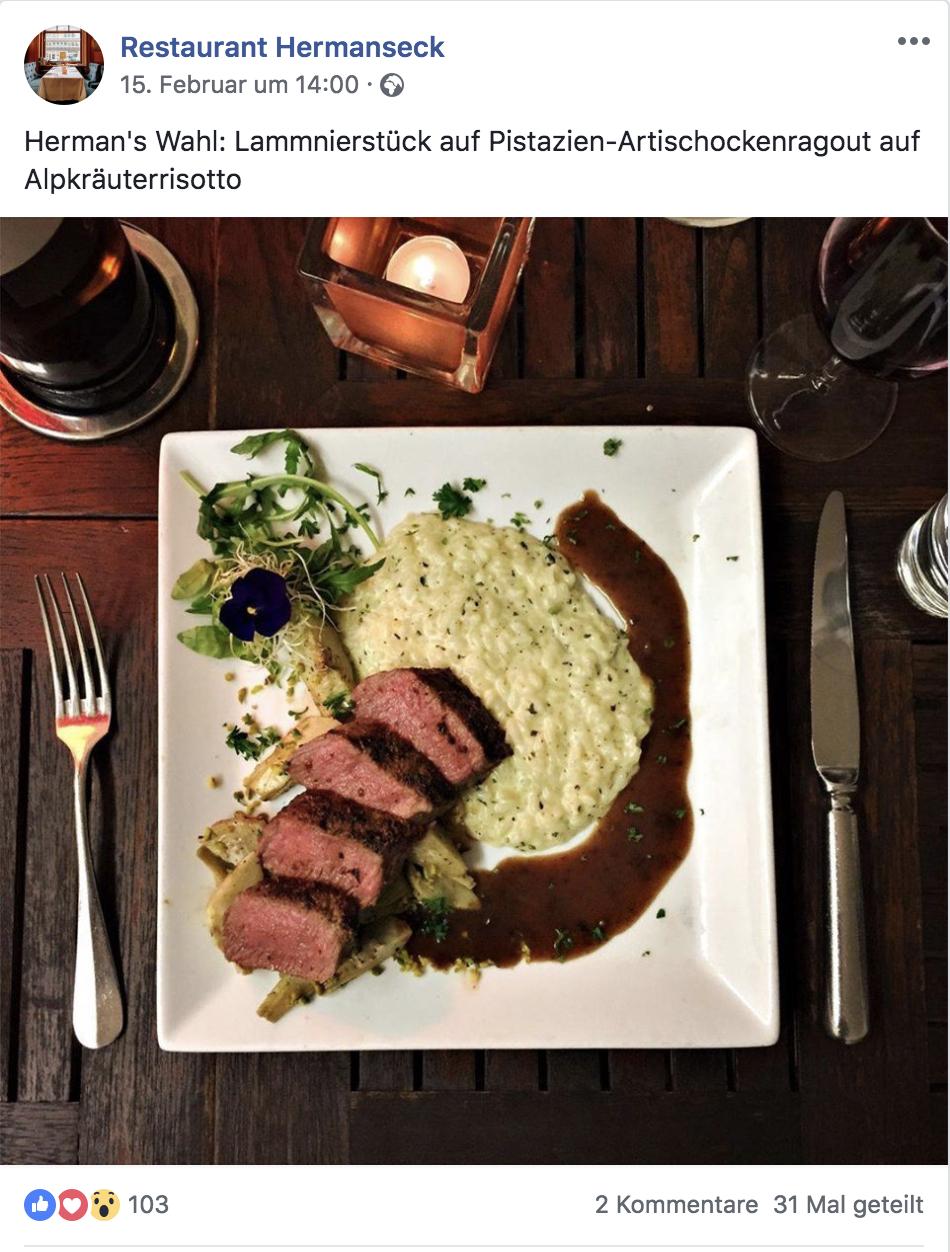 Das Restaurant Hermanseck aus Zürich präsentiert seine Mittagsmenüs auf Facebook