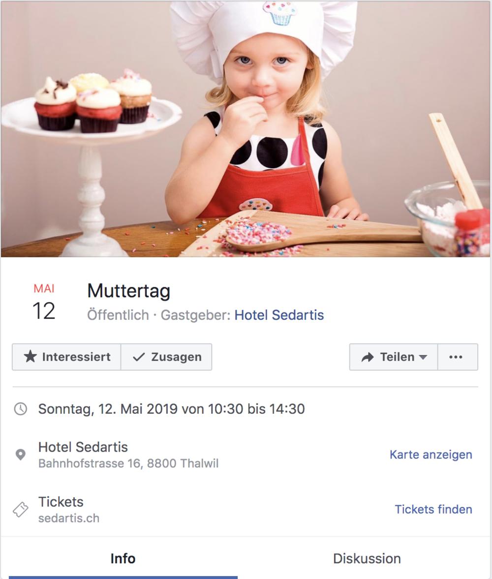 Beispiel eines Muttertagsevents auf Facebook vom Hotel Sedartis