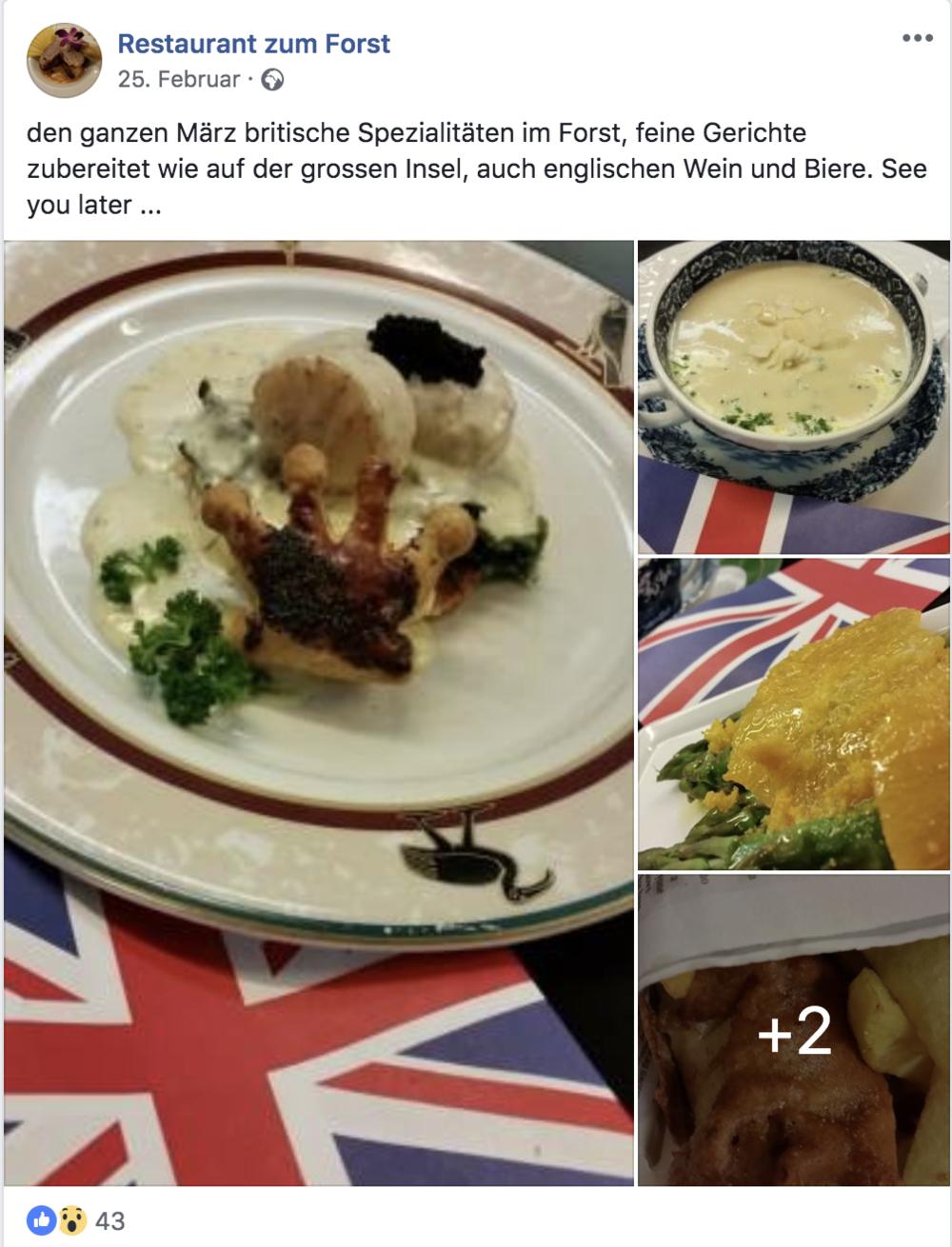 Das Restaurant Forst macht auf die aktuellen Speisen aufmerksam.