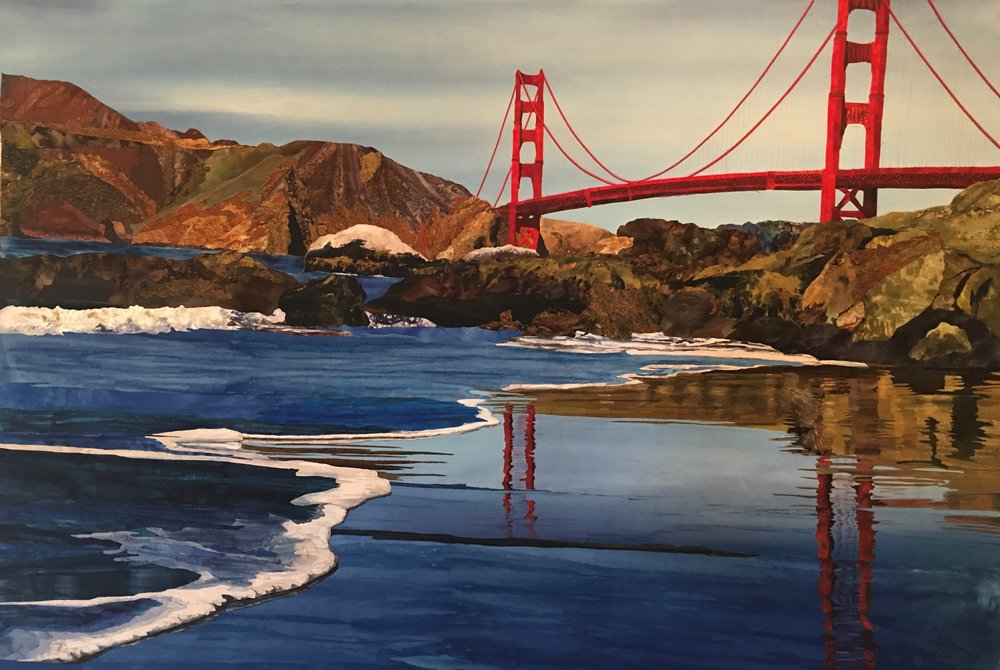 Baker Beach, a work in process.  Derived from a photo by John Slot, and used with his permission.