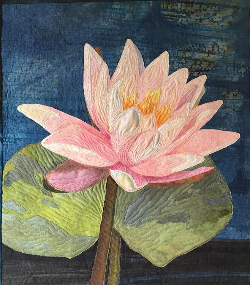 Waterlily - A small quilt, great for a single day workshop.  Simple inking and color pencil work.