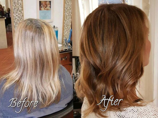 Fall transition from beachy blonde to golden vibes! #beforeandafter #balayage #belmar #hairbyme #stylingco