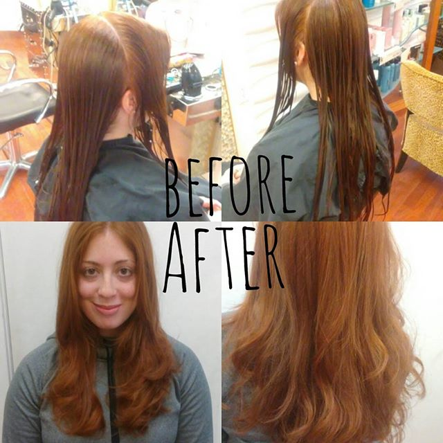 Took this beeautiful red head & shortened her length to add some bounce & body.....love my job...