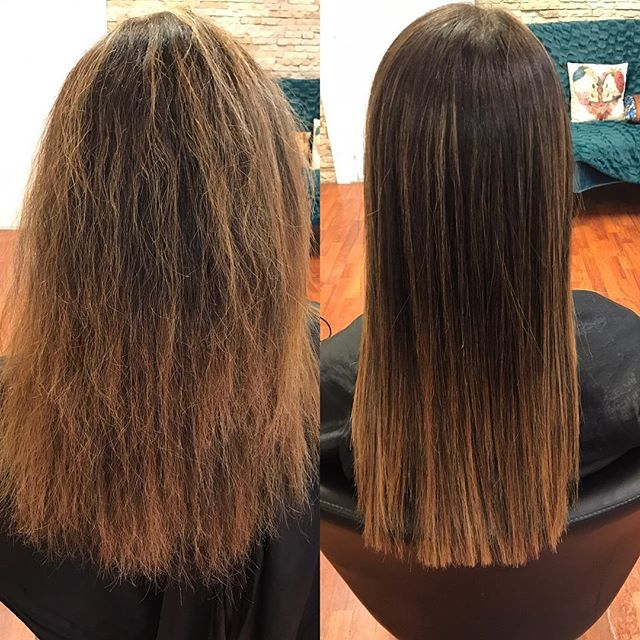Goodbye frizzy hair #beforeandafter  #cezannetreatment #summerfrizz #beattheheat @stylingco