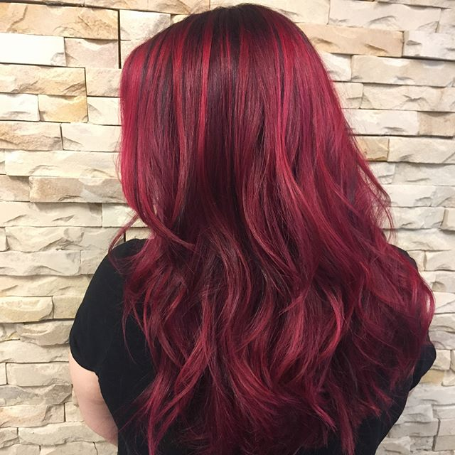 Fall is in the h a i r 🍁🍂🍁🍂 new hair for this coming season with this ruby red ❤ swipe for the before! . . . . . . . . . . . #belmar #belmarnj #pulpriothair #pulpriot #fallhaircolor #fallhair #rubyred #dimensional #comeseeme #njstylist #modernsalon #americansalon #behindthechair #hudabeauty