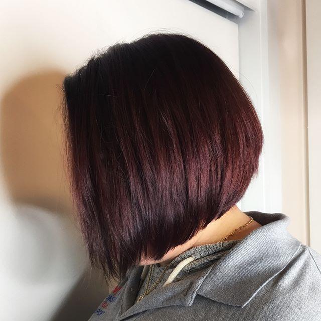 From brass to sass 💁🏻 . . . . . . . . . . . . . . . #comeseeme #kevinmurphy #alinebob #vidalsassoon #transformation #nj #njstylist #belmar #monmouthcounty #hudabeauty #hairbrained #mahogany #hairlife #idohair #bobs #aline #guy_tang #modernsalon
