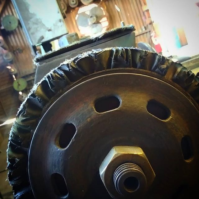 A #sisal #buffing #wheel is one of the #tools used to make your metal look poppin. At this stage the #grind marks on the #metal is taken down and smoothed out a bit....then it gets #copper #plated and then #polished #polishing #chrome #repair #classiccars #hotrods #restoration #steel