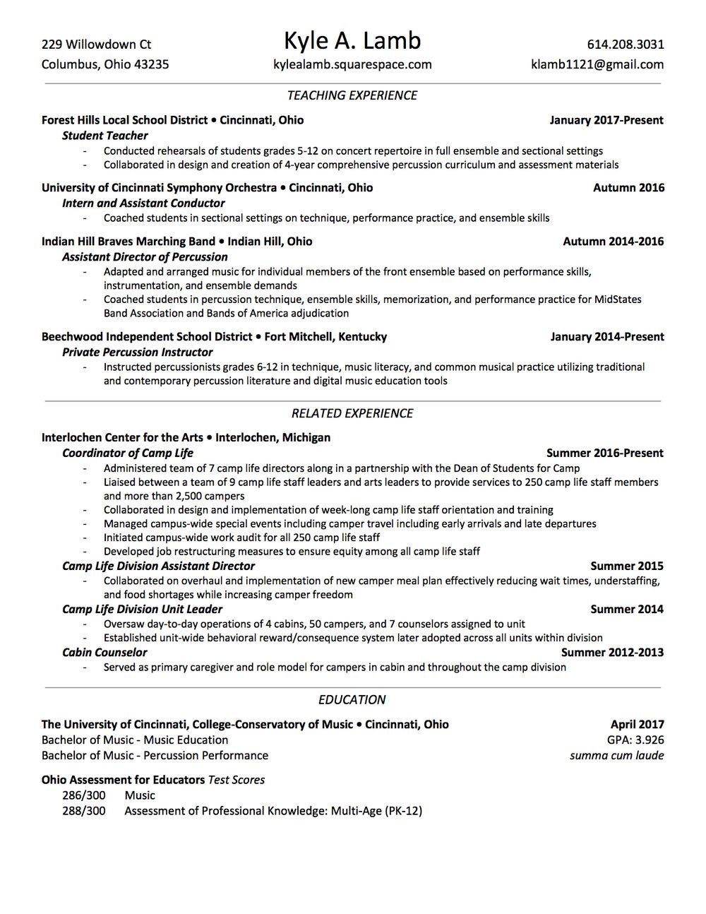 Education Resume — Kyle A. Lamb