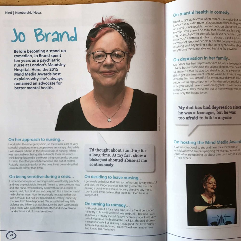 Jo Brand, who worked as a mental health nurse, in Mind Membership News