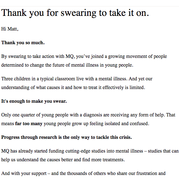 An email thanking supporters for swearing to take on mental illness.