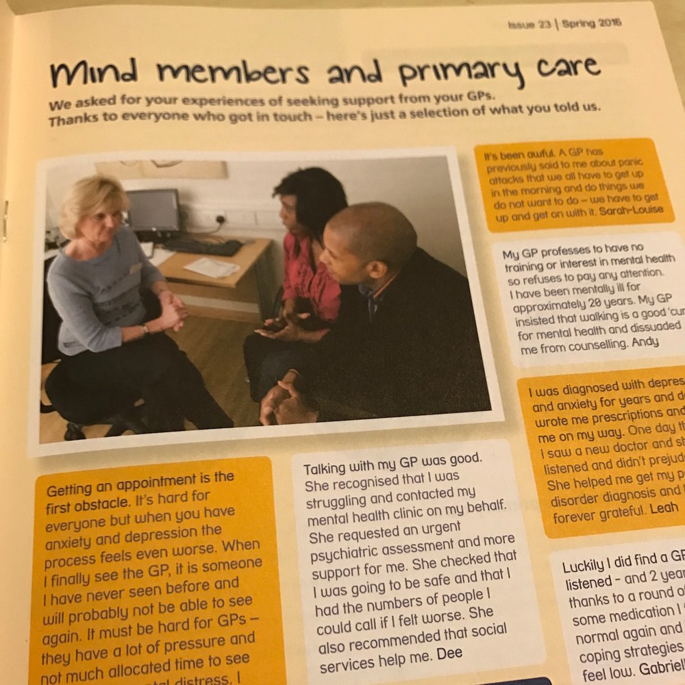 Mind's members share their experiences of discussing mental health with GPs.