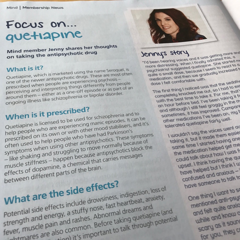 Mind member Jenny shares her experience of taking quetiapine, an antipsychotic drug